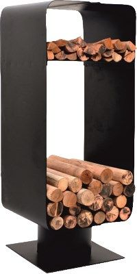 This modern style log holder has a section for both kindling and larger logs…