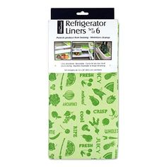 """Discounted DII Non Adhesive Cut to Fit Machine Washable Fridge Liner For Drawers, Bins, Trays, Protect Produce, Set of 6, 12 x 24"""" - Green"""