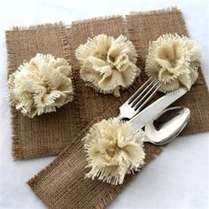 Wedding Idea of The Day: Burlap Silverware Holders and Napkin Rings