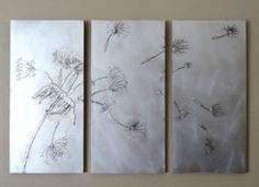 Make your own dandelion art triptych : Instead of buying the same artworks as everyone else, make your own dandelion triptych to hang on a feature wall, using wood, glue and paint. Aluminum Foil Crafts, Silver Spray Paint, Dandelion Art, Glue Art, Foil Art, Abstract Canvas Art, Pastel Art, Diy Arts And Crafts, Triptych