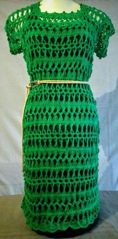 Vestido verde de crochê de grampo                                                                                                                                                                                 Mais