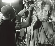 3 years ago today Lee Alexander McQueen, committed suicide. May he always be remembered for being a creative genius and the man who pushed every boundary in fashion in order to provide us with beautiful works of art x     (Lee Alexander McQueen backstage at his Spring/Summer 2001 collection entitled 'Voss' photographed by Anne Deniau, taken from the book Love Looks Not with The Eyes)