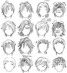Resultados de la Búsqueda de imágenes de Google de http://mangastringz.files.wordpress.com/2011/08/hair_styles_by_genshiken_rj.jpg Boy Hairstyles, Pixie Haircuts, Cool Drawings, Bts Drawings, Drawing Hair, Manga Drawing, Drawing Tips, Drawing Techniques, Superhero Books
