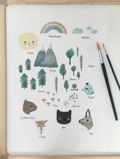 Poster A3 Wald Tiere Natur Sonne Wolken Wetter Bäume modernes Bild Kunstdruck Wohnzimmer Deko Illustration Geschenk Minimalistisch Abstrakt von miameide auf Etsy