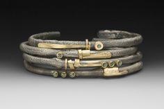 4 Bracelets  by Roger Rimel    Sterling silver,14k gold, fused gold, sapphires