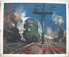 Night Freight, by Terence Cuneo. A vibrant starry night-time scene during the days of British Railways' Modernisation Programme. The Condor London to Glasgow express freight service (Container Door-to-Door, forerunner of the modern Freightliner trains) is waiting at the signal with a pair of the notoriously unreliable Metropolitan-Vickers Co-Bo diesel locomotives in charge. Available on originalrailwayposters.co.uk