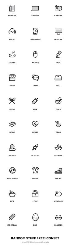 Random Stuff Free Iconset A set of 30 free outline random stuff icons. - Random Stuff Free Iconset A set of 30 free outline random stuff icons. Available for free to downlo - Icon Design, Graphisches Design, Logo Design, Flat Design, Design Ideas, Icon Set, Symbole Instagram, Outline, It Icons