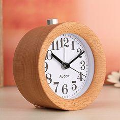 Round Wooden Alarm Clock Lighting Small Silent Desk Bedside Snooze Mute Modern #Audew #Modern