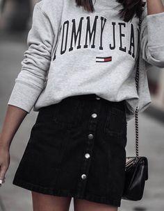 #spring #outfits grey blouse, denim black skirt