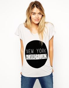 Enlarge ASOS T-Shirt with V neck and New York California Print