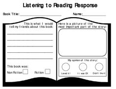 Listening to Reading Response Sheet- a one page response to your listening center.