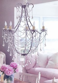 chandelier and purple walls