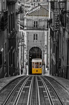 "The ""Bica"" Funicular - Lisbon, Portugal by Ricardo Bahuto Felix Elevador da Bica The Bica Funicular (Portuguese: Elevador da Bica or Ascensor da Bica) is a funicular in Lisbon, Portugal, that forms the connection between the. Spain And Portugal, Portugal Travel, Most Beautiful Cities, Beautiful World, Lisbon City, Tramway, Belle Photo, Places To See, The Good Place"