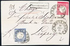CREFELD BHF. 30 / 7 73 (Sp. 6-8), clear on decorative, registered cover Vds. With superb in every respect (choice copy) franking with different colours DR 1 and 2 Gr.  estimate (place a counter offer)  Dealer Württembergisches Auktionshaus  Auction Minimum Bid: 100.00EUR