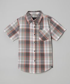 Another great find on #zulily! Coal Plaid Button-Up - Infant & Boys by Hurley #zulilyfinds