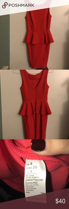 TopShop peplum dress Perfect for any cocktail party or party in general. Excellent condition. Orangey red color.  ~I accept REASONABLE offers (50% off my asking is not reasonable)~ Topshop Dresses