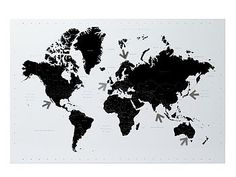 Magnetic World Map Memo Board by I Love Retro