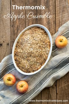Thermomix Apple Crumble - a warming winter dessert that can be thrown together in minutes. Served with hot custard or ice cream, it tastes delicious!