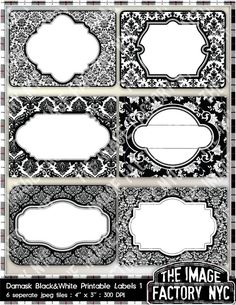 Negro y blanco Damasco para imprimir etiquetas & etiquetas de