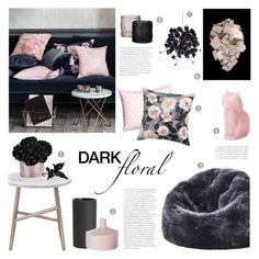 """""""Dark Floral"""" by c-silla ❤ liked on Polyvore featuring interior, interiors, interior design, home, home decor, interior decorating, H&M, Dot & Bo, Marc by Marc Jacobs and CB2"""