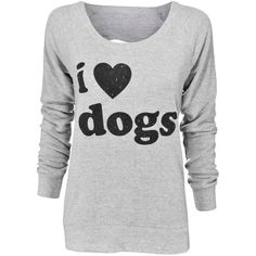 Chaser Brand I Love Dogs Pullover ($52) ❤ liked on Polyvore featuring tops, sweaters, sweater pullover, long sleeve knit tops, long sleeve sweater, extra long sleeve sweater and pullover sweater
