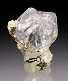 Fluorite with Pyrite, Dolomite, Shangbao Pyrite mine, Hunan Province, China (miniature)