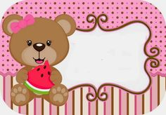 Cute Bear Eating Watermelon Free Printable Kit.