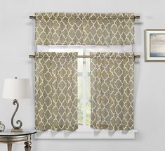 Moroccan Geometric Kitchen Window Curtain Tier & Valance Swag Set - Taupe #DESIGNERLINENS #Contemporary