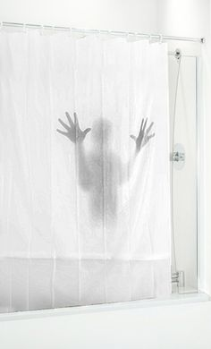 This is my worst nightmare! I would shit myself everytime I went in the shower!! Scary shower curtain! Milky clear plastic curtain with shadow print of hands