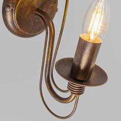 Wandlamp Zero Branco 1 antiek - Traditionele roestbruine wandlamp met een antieke uitstraling.