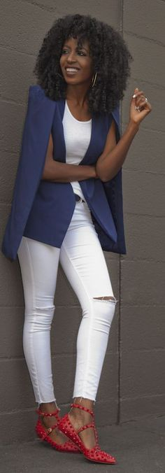 Blue Cape Blazer by Style Pantry
