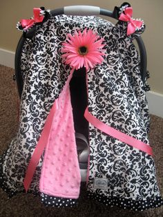 Infant Car Seat canopy cover Cuddler -- Black White Damask with Pink minky and polka dot trim - MADE TO ORDER