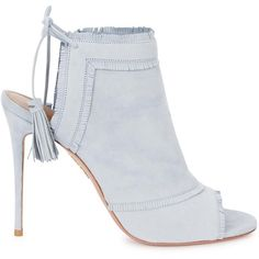 Womens Ankle Boots Aquazzura Colorado Pale Blue Fringed Suede Boots ($715) ❤ liked on Polyvore featuring shoes, boots, short boots, fringe boots, fringe high heel boots, fringe ankle boots and peep toe bootie