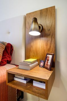 Floating nightstands with vintage mid century sconces - . - Floating nightstands with vintage mid century sconces - - Small Nightstand, Floating Nightstand, Nightstand Ideas, Bedside Tables, Wood Nightstand, Headboard Ideas, Home Decor Furniture, Diy Home Decor, Home Decor Ideas