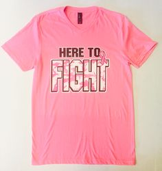 here to fight, pink breast cancer awareness v-neck. SoCal Volleyball #socalvbc