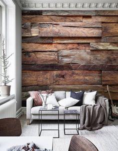 Wooden Planks On Wall, Wood Plank Walls, Wooden Walls, Wooden Wallpaper, Wall Wallpaper, Wood Wall Design, Design Art, Modern Contemporary Living Room, Diy Room Divider