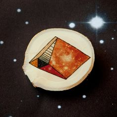 Geometric asteroids  Galaxy  Illustrated wooden brooch by depeapa, $20.00