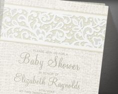 Ivory Rustic Country Burlap Linen Baby Shower Invitation