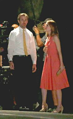Ryan Gosling & Emma Stone from The Big Picture: Today's Hot Pics The two film the movie La La Land in Pasadena, California.