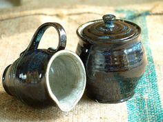 Blue and Brown Cream and Sugar Set