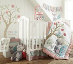 Create a sweet woodland nursery for your little one with the Fiona Crib Bedding Collection from Levtex Baby. The Crib Bedding Set includes everything you'll need for a beautifully coordinated room designed for sleep and play. Baby Set, Baby Nursery Sets, Baby Crib Bedding Sets, Girls Bedding Sets, Crib Sets, Nursery Themes, Baby Cribs, Aqua Nursery, Nursery Ideas