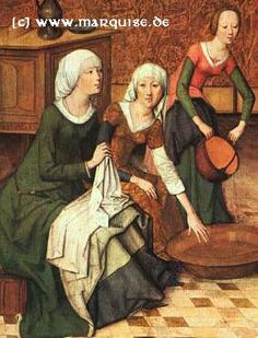 Interesting Kirtle on the right with a floating collar? Detail from the birth of mary, Master of the Life of the Virgin, c. Germany (Alte Pinakothek, München) - under skirt 15th Century Fashion, 15th Century Clothing, 14th Century, Medieval Costume, Medieval Dress, Medieval Clothing, Women's Clothing, Medieval World, Medieval Art