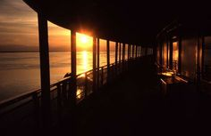 Viewing de Sunset on de ferry above the river in Siberia of Russia