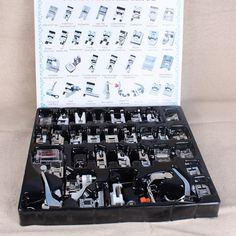 32 UNIDS de Coser Domésticas Prensatelas Máquina de Trenzado de Punto Ciego de Zurcir pies Kit Conjunto Con la Caja Snap On Para Singer Set