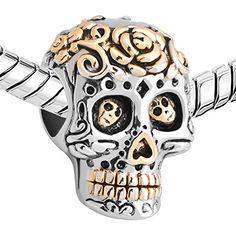 Uniqueen Sale Halloween Gift Skull Cheap Charm Beads fits pandora, chamilia & troll Bracelets (Dia De Los)