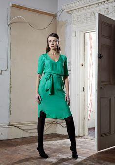Ms. Beatty V Dress in emerald silk.
