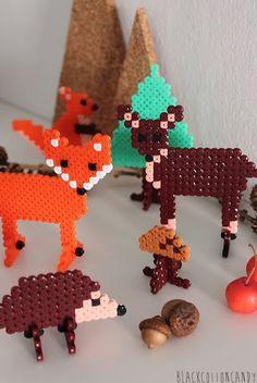Forest animals hama beads - B l a c k C o t t o n C a n d y