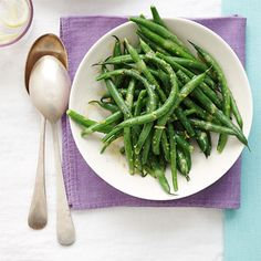 Angela's green beans (really Pioneer Woman) but she claims them.  Green Beans with Lemon Vinaigrette Recipe - Woman's Day