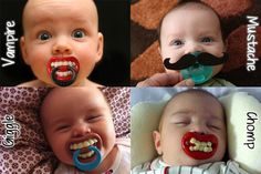 So funny! I will never use a pacifier on my children, but these are pretty cute! Funny Babies, Cute Babies, Funny Pacifiers, Baby Pacifiers, Diy Bebe, Binky, Baby Kind, Baby Momma, Baby Boys