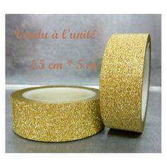 ♥ Un rouleau de masking tape, effet pailleté, doré ♥ : Masking tape par la-petite-mercerie-d-ophelie